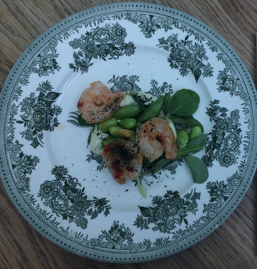 Chilli-ginger-king-prawns-snap-peas-wasabi-mayonnaise